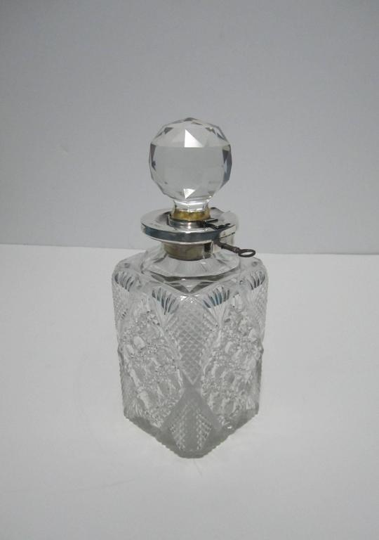 Antique English Sterling Silver and Crystal Liquor Spirit Decanter For Sale 6