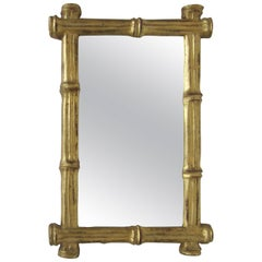 Small Vintage Italian Gold Giltwood 'Bamboo' Framed Wall Mirror