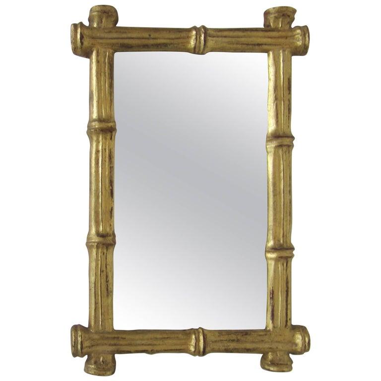 Small Vintage Italian Gold Giltwood 'Bamboo' Framed Wall Mirror