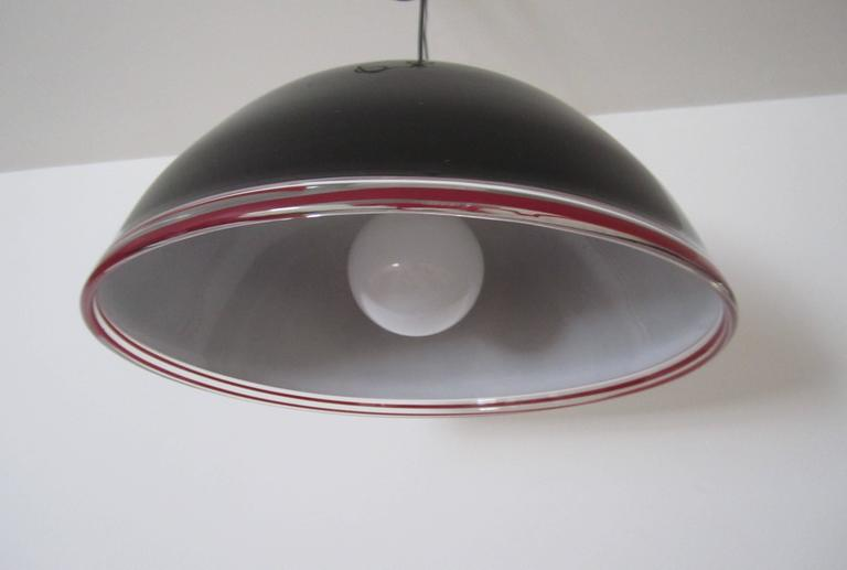 Black Italian Murano Art Glass Dome Chandelier Pendant Light In Good Condition For Sale In New York, NY