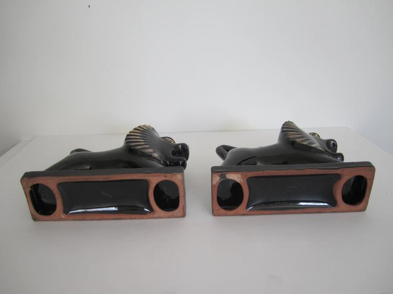 Art Deco Black and Gold Lion Bookends or Decorative Objects, Pair For Sale 3
