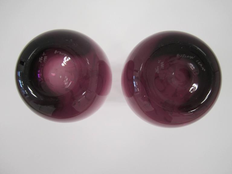Pair Vintage Signed European Purple Art Glass Vases For Sale At 1stdibs