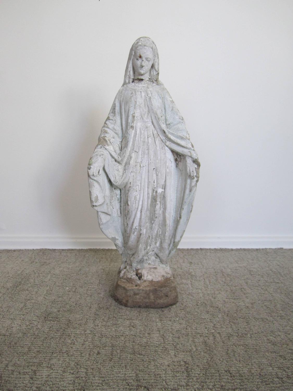 Vintage virgin mary garden sculpture statue for sale at for Virgin mary garden statue