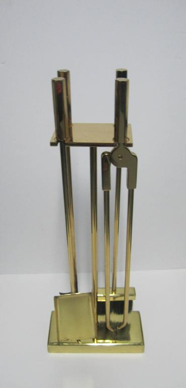 Vintage modern brass fireplace tool set for sale at 1stdibs set of 5 piece available here for 1800 a substantial vintage modern brass fireplace tool set teraionfo