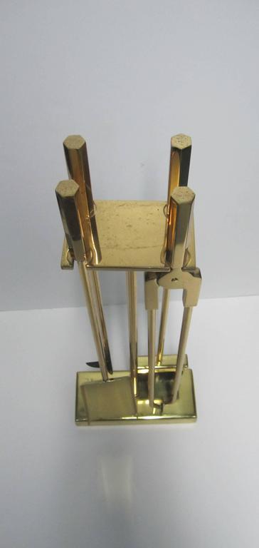 Vintage Modern Brass Fireplace Tool Set For Sale at 1stdibs