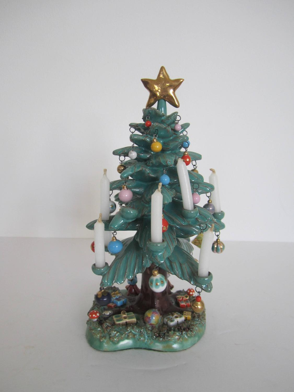 vintage mexican pottery christmas tree sculpture for sale