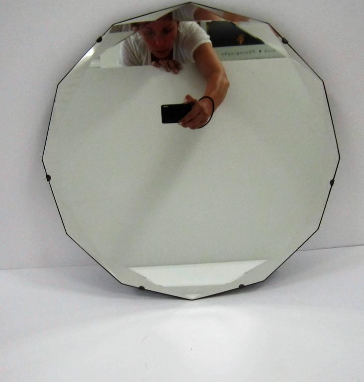 American Round Hollywood Regency Beveled Glass Wall Mirror For Sale