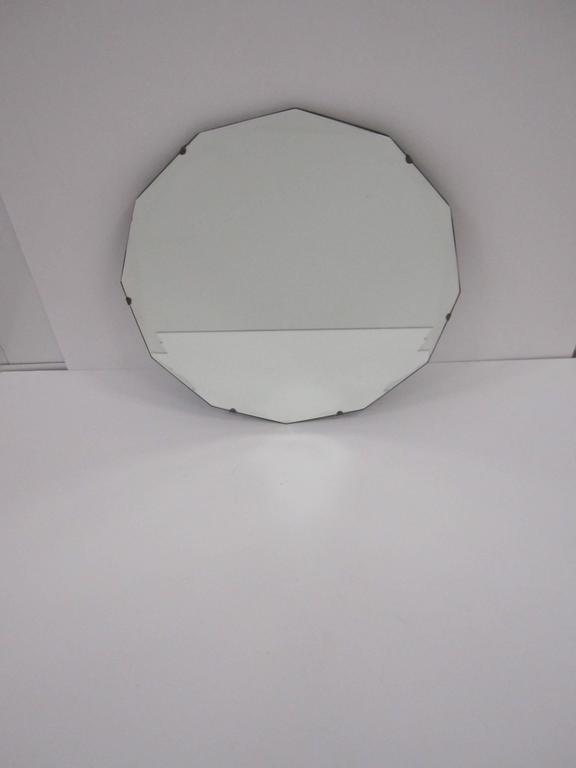Mid-20th Century Round Hollywood Regency Beveled Glass Wall Mirror For Sale