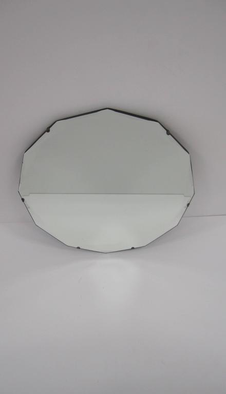 Round Hollywood Regency Beveled Glass Wall Mirror For Sale 1