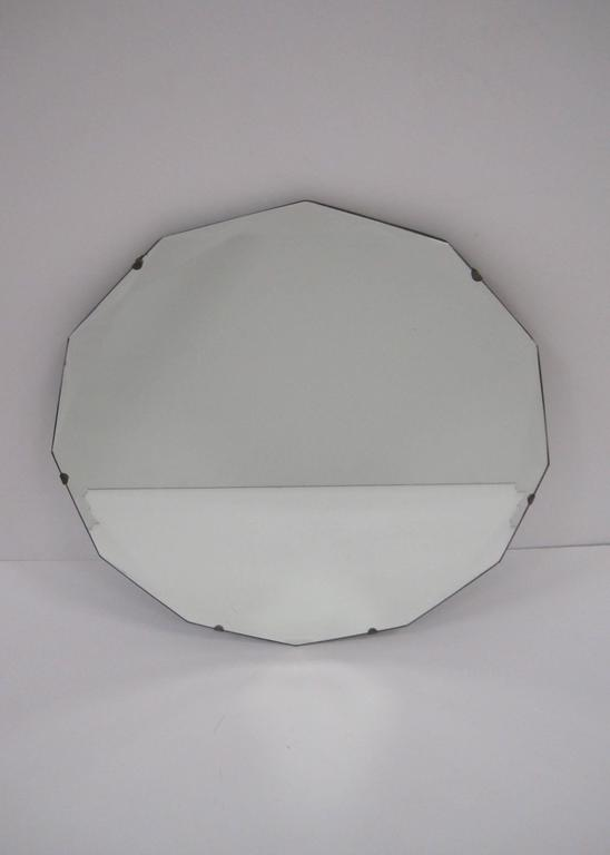 Round Hollywood Regency Beveled Glass Wall Mirror For Sale 2