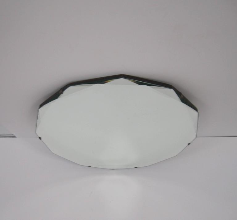 Round Hollywood Regency Beveled Glass Wall Mirror For Sale 3