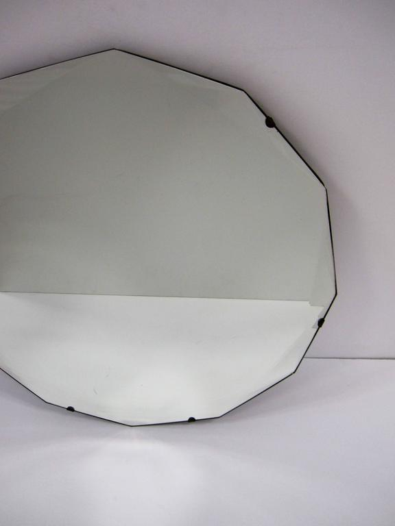Round Hollywood Regency Beveled Glass Wall Mirror For Sale 4