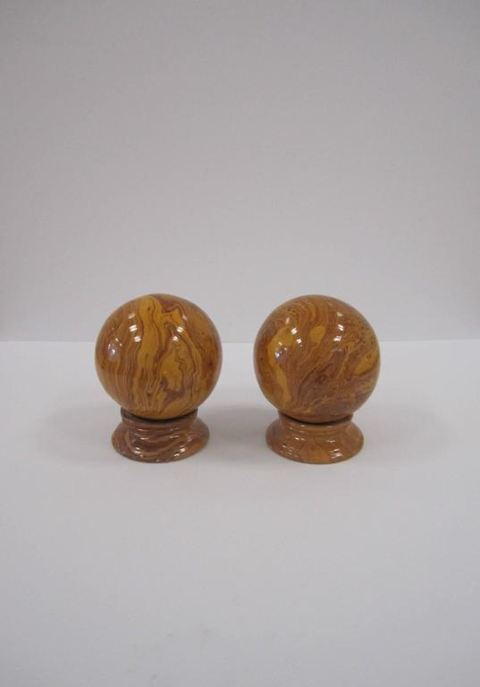 Glazed Italian Yellow Pottery Marbleized Decorative Spheres on Pedestal Bases For Sale
