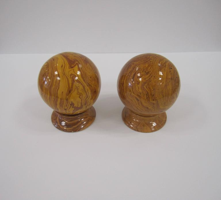 20th Century Italian Yellow Pottery Marbleized Decorative Spheres on Pedestal Bases For Sale