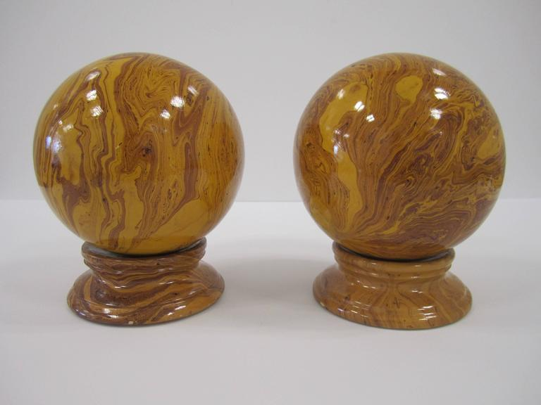 Italian Yellow Pottery Marbleized Decorative Spheres on Pedestal Bases For Sale 2