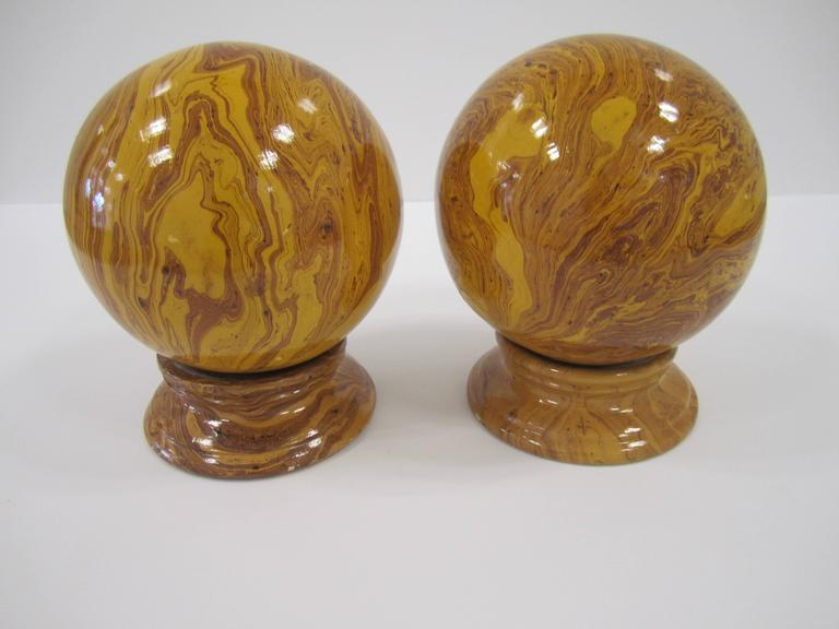 Italian Yellow Pottery Marbleized Decorative Spheres on Pedestal Bases For Sale 3
