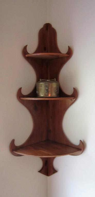 Hanging Corner Wall Wood Shelf In Excellent Condition For Sale In New York, NY