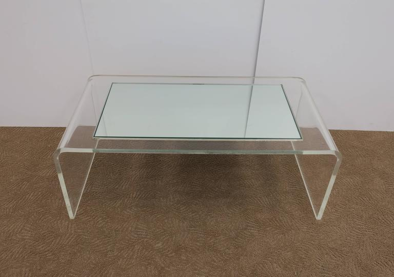 American Modern Lucite Waterfall Coffee Table  For Sale