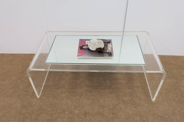 Mirror Modern Lucite Waterfall Coffee Table  For Sale