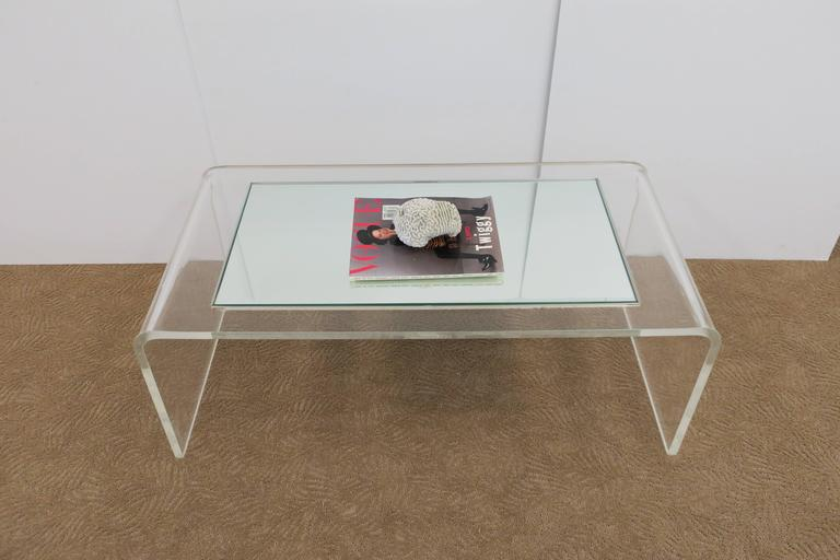 Modern Lucite Waterfall Coffee Table  For Sale 1