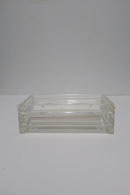 Modern Lucite Tissue Box in the Style of Charles Hollis Jones, ca. 1970s In Good Condition For Sale In New York, NY