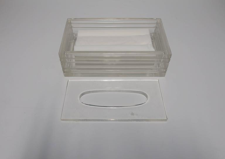 Modern Lucite Tissue Box in the Style of Charles Hollis Jones, ca. 1970s For Sale 3