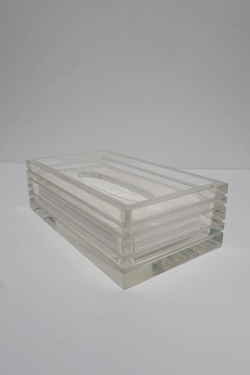 Modern Lucite Tissue Box in the Style of Charles Hollis Jones, ca. 1970s For Sale 1