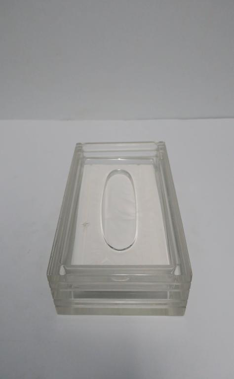 Modern Lucite Tissue Box in the Style of Charles Hollis Jones, ca. 1970s For Sale 4