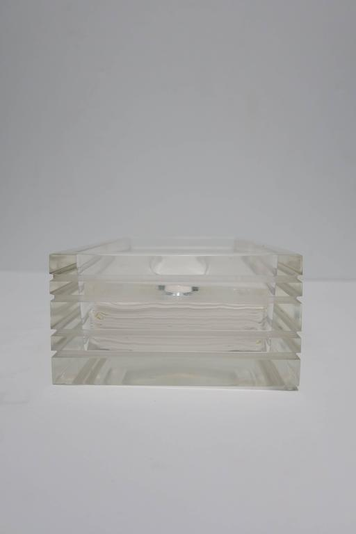 Late 20th Century Modern Lucite Tissue Box in the Style of Charles Hollis Jones, ca. 1970s For Sale