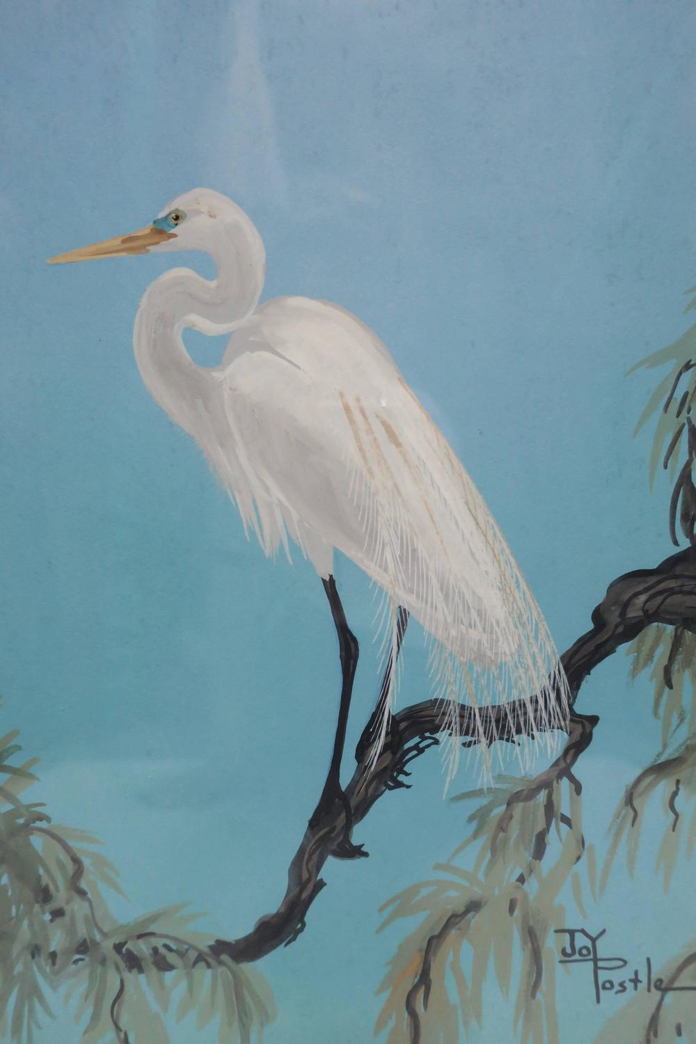 Signed vintage white egret bird painting by artist joy for White heron paint