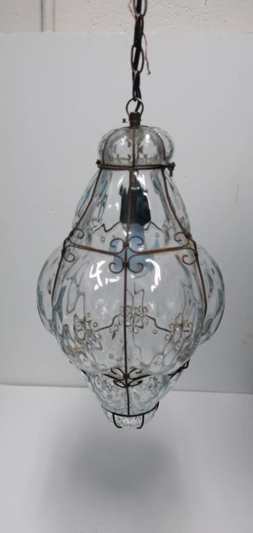 Clear Italian Lantern Pendant Light In Good Condition For Sale In New York, NY