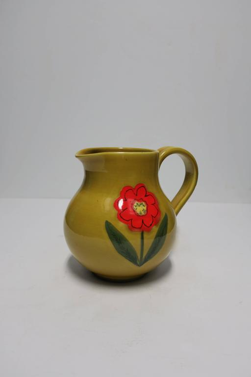 Vintage Italian Ceramic Pottery Pitcher Or Vase Italy For