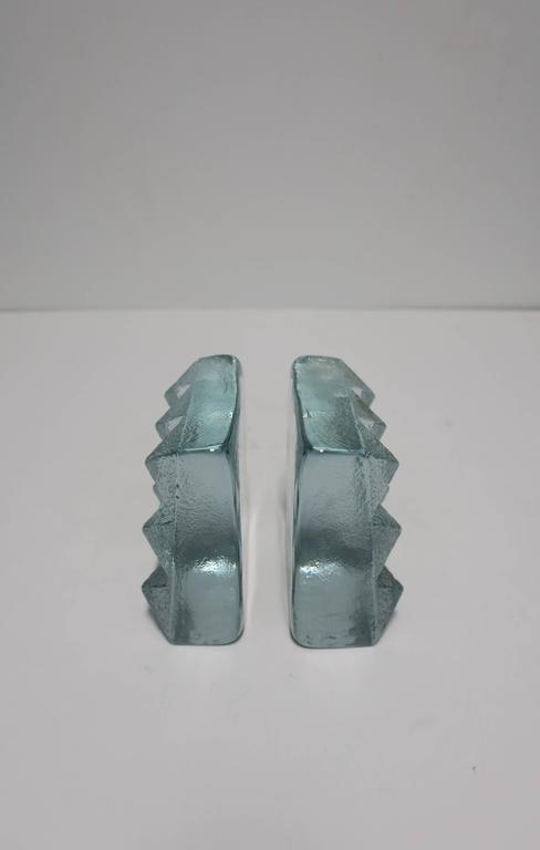 Contemporary Pair of Glass Pyramid Bookends For Sale