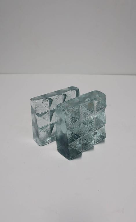 Pair of Glass Pyramid Bookends For Sale 1