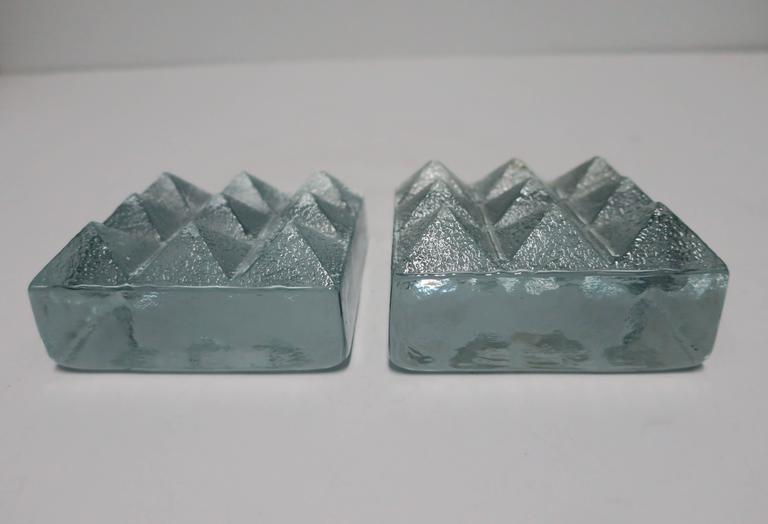 Pair of Glass Pyramid Bookends For Sale 2