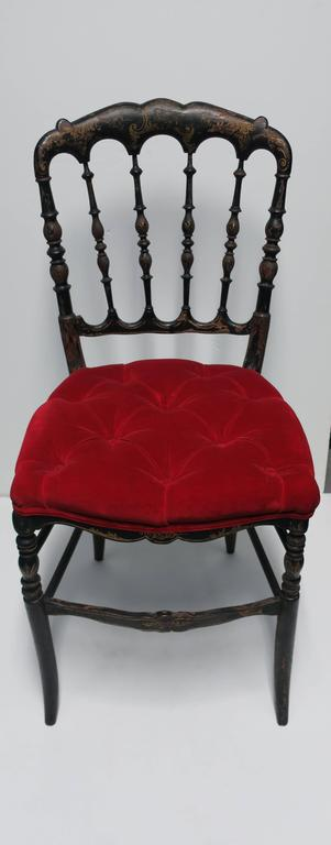 A Beautiful Antique English Chinoiserie Black Lacquer Side Chair With  Striking Red Velvet Seat; Spindle
