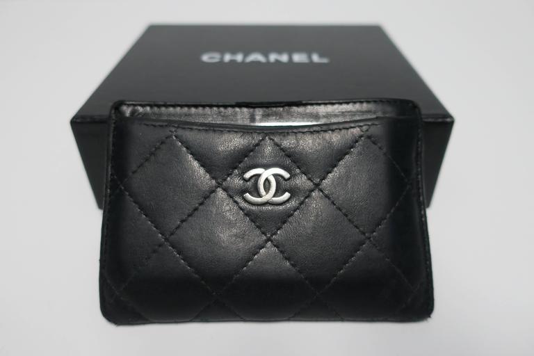 Black Chanel Leather Credit Card Case Holder Or Wallet At 1stdibs