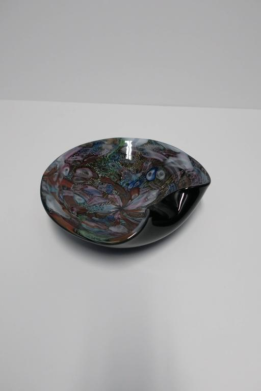 Blown Glass Black and Mulit-Colored Italian Murano Art Glass Bowl For Sale
