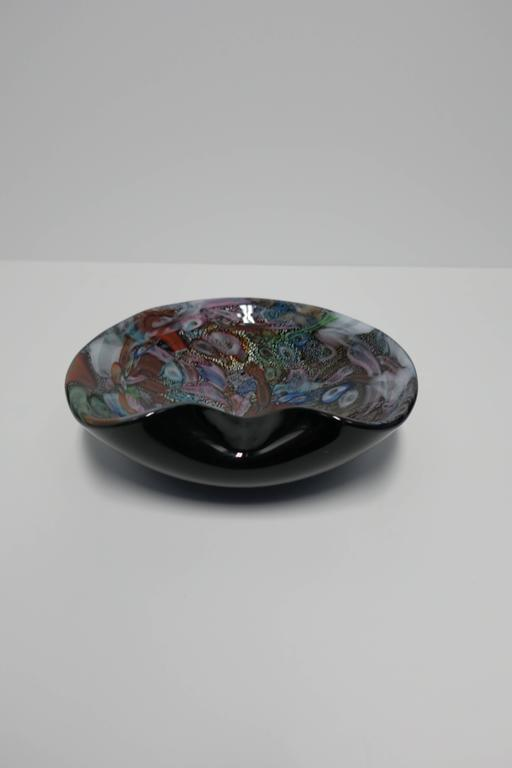 Mid-20th Century Black and Mulit-Colored Italian Murano Art Glass Bowl For Sale