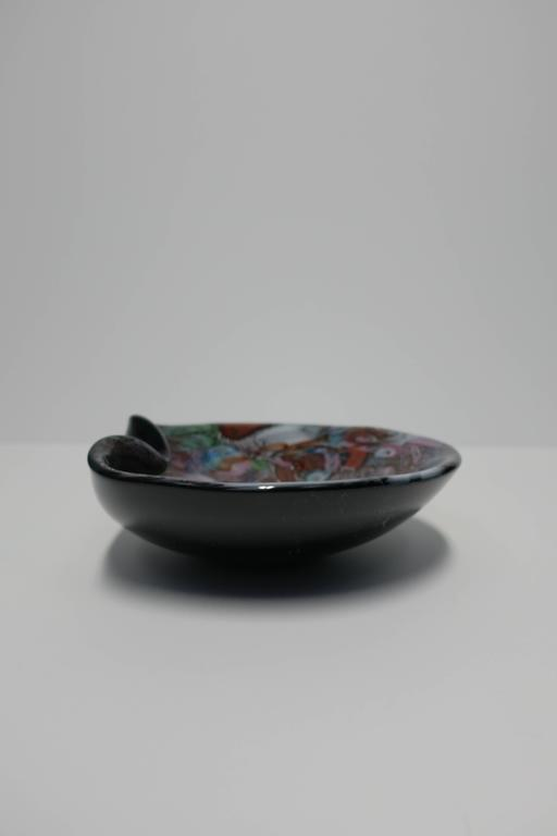 Black and Mulit-Colored Italian Murano Art Glass Bowl For Sale 1