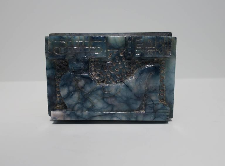 Unknown Blue and White Marble Carved Jewelry Box For Sale