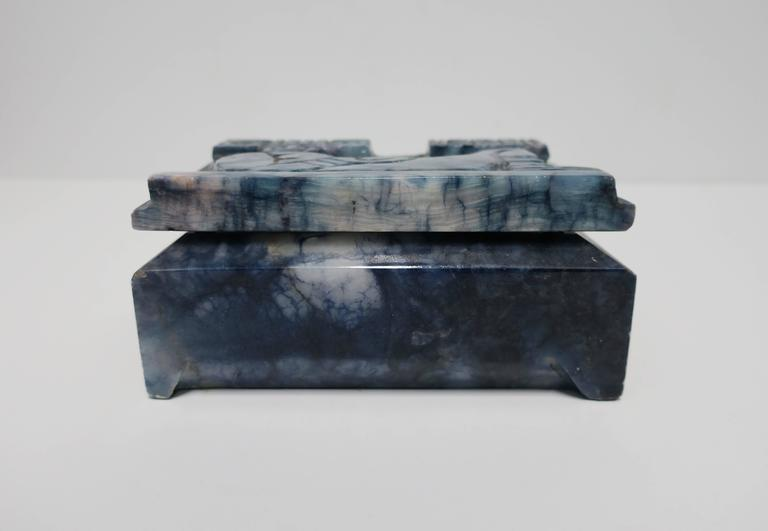 Blue and White Marble Carved Jewelry Box For Sale 3
