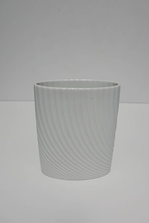 White Matte Porcelain Ceramic Pottery Vase by Rosenthal For Sale 2