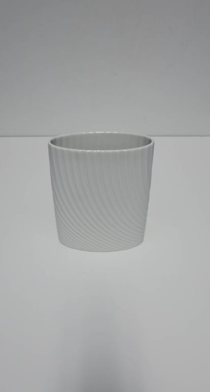 Minimalist White Matte Porcelain Ceramic Pottery Vase by Rosenthal For Sale