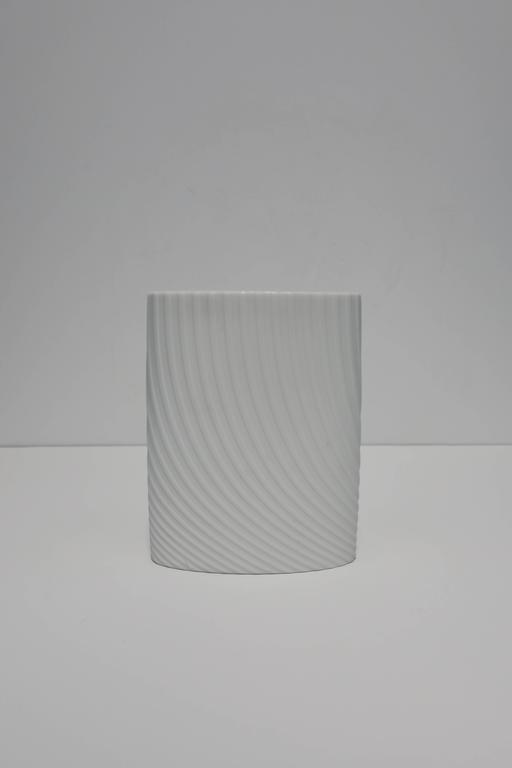 German White Matte Porcelain Ceramic Pottery Vase by Rosenthal For Sale