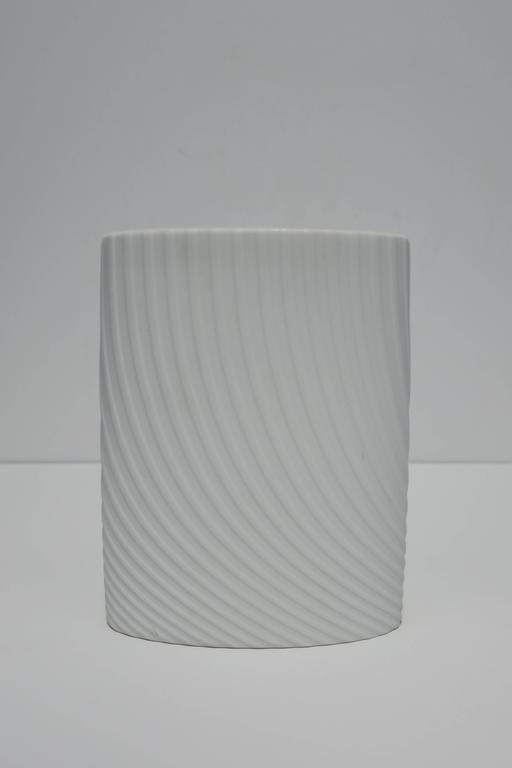 Unglazed White Matte Porcelain Ceramic Pottery Vase by Rosenthal For Sale