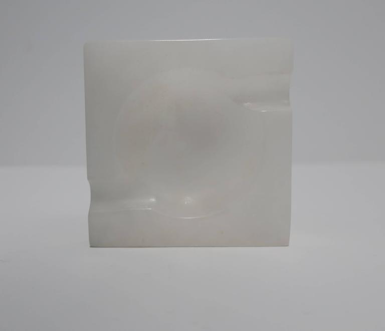Italian Modern White Alabaster Marble Ashtray or Vessel For Sale 2