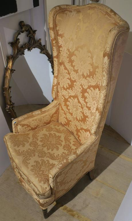 Vintage Tall Wingback Upholstered Chair 1960s For Sale At