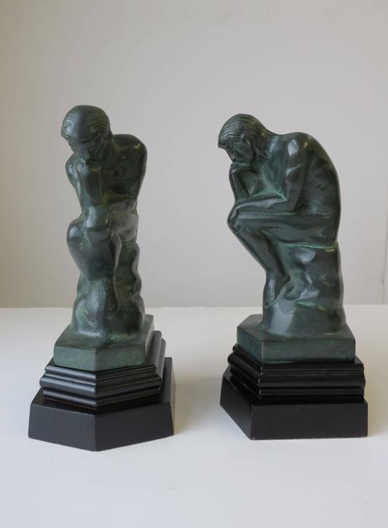 20th Century Pair of Black and Green Male Sculpture Bookends For Sale