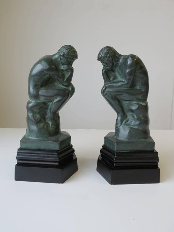 Pair of Black and Green Male Sculpture Bookends For Sale 1